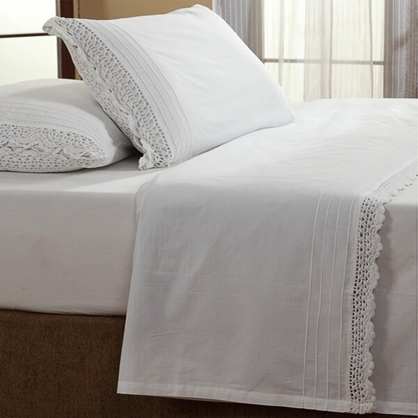 Dainty Crochet 200 Thread Count 100% Cotton Sheet Set by Amity Home